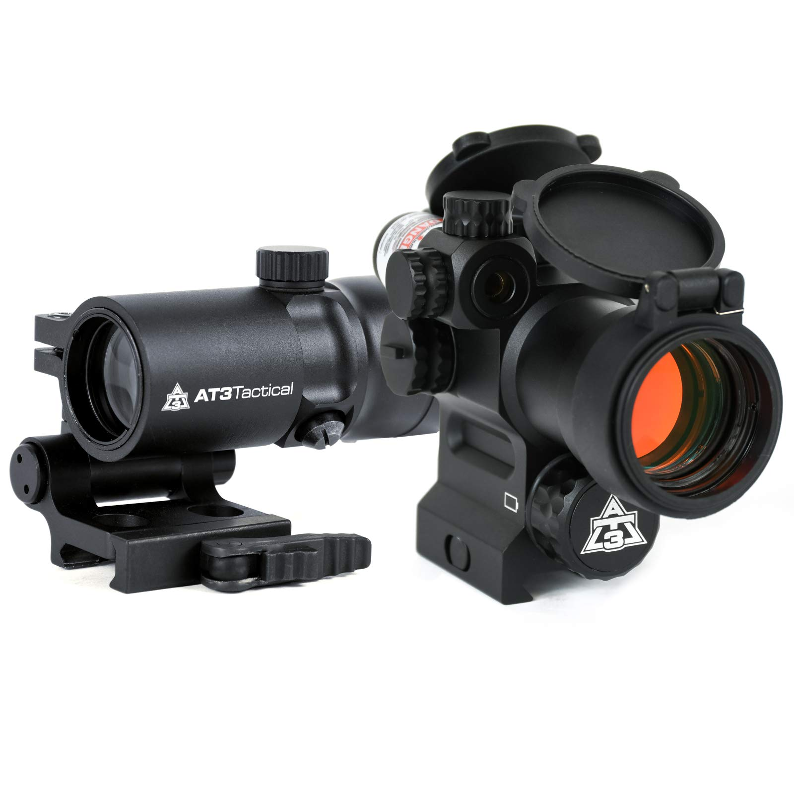 AT3 4X Magnified Red Dot with Laser Sight Kit - 2 MOA Red Dot with Laser Sight and 4X Magnifier (Green Laser) by AT3 Tactical