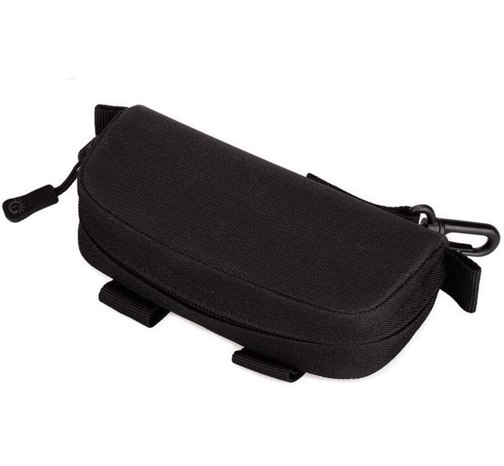 BLACK Attaches to Belt Horizontal Soft Eyeglass Case Faux Leather