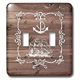 3dRose LSP_261835_2 White Ship Anchor and Rope on Brown Weatherboard- Not Real Wood Toggle Switch,