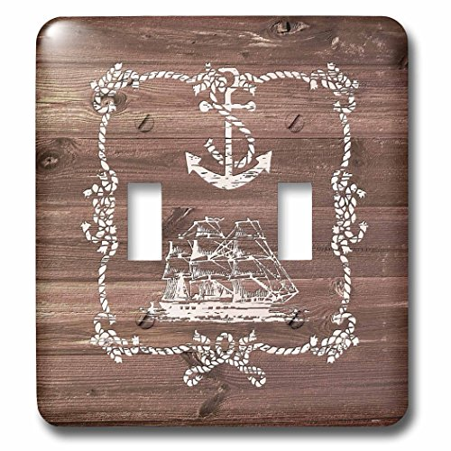 3dRose Russ Billington Nautical Designs - White Ship Anchor and Rope on Brown Weatherboard- Not Real Wood - Light Switch Covers - double toggle switch (lsp_261835_2)