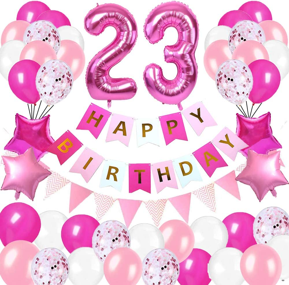 Happy Birthday Banner Foil Number Balloons Latex Balloons and More for 23 Years Old Brithday Party Supplies Happy 23rd Birthday Party DecorationsRose Red and Pink Brithday Decorations Set