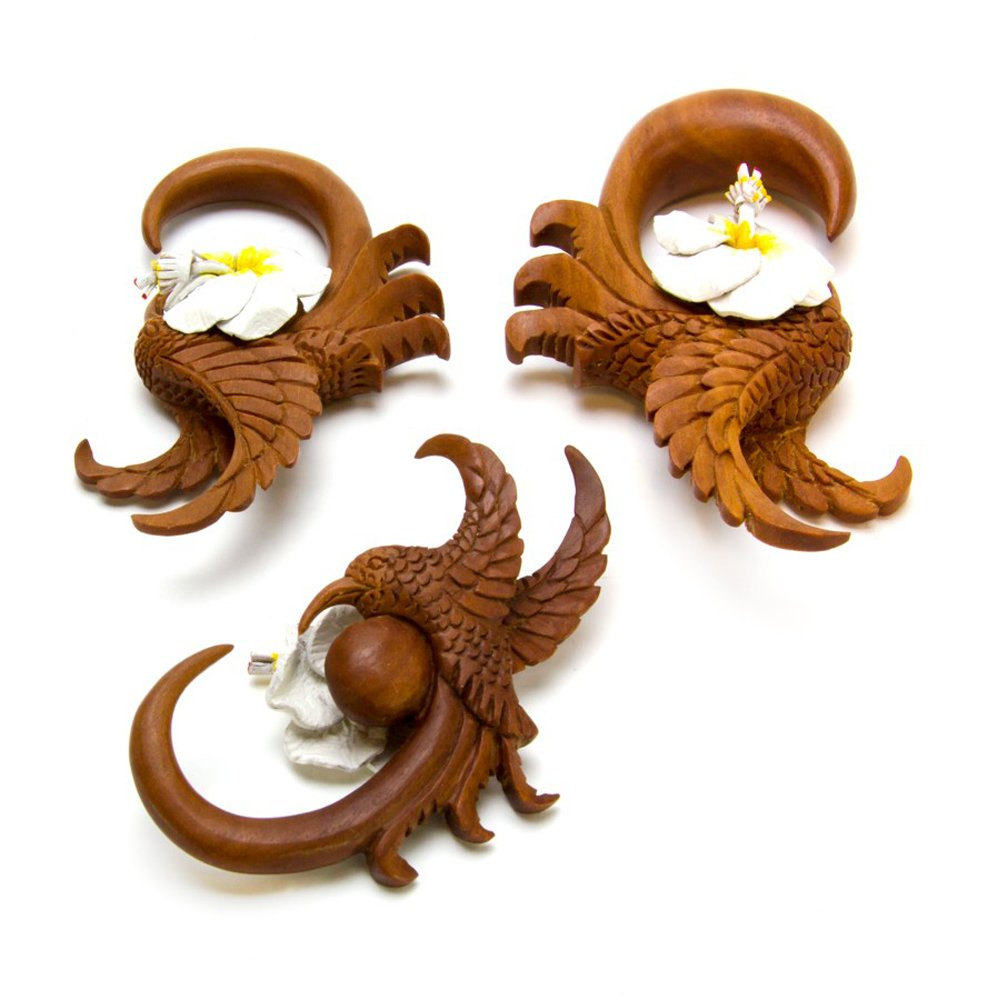 Elementals Organics Hummingbird of Spring Leather Flower Saba Wood Hanger - Price Per 2-8mm ~ 0g
