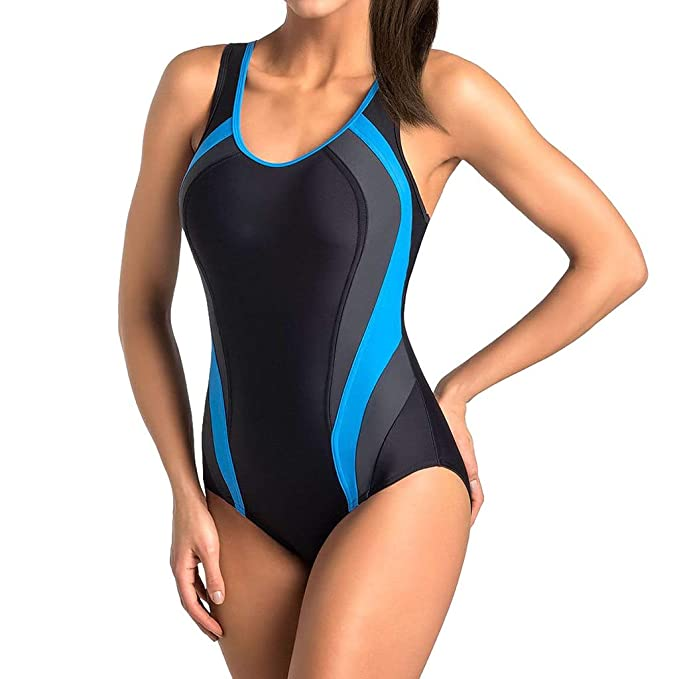 ef66c7e2017a9 Deloito Fashion Women Ladies Racerback One Piece Swimming Costume Sport  Training Athletic Padded Swimsuits Size S M L Black: Amazon.co.uk: Clothing