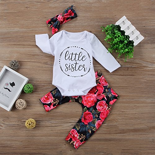 Baby-Girls-Little-Sister-Bodysuit-Tops-Floral-Pants-Bowknot-Headband-Outfits-Set