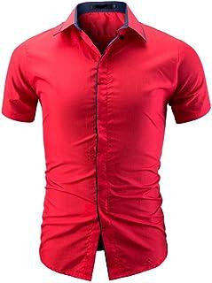 Chemises Homme Chemises Bureau Chemises BoutonnéEs Chemise à Manches Courtes pour Hommes Occasionnels HCFKJ - MS