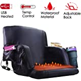 【Upgraded】 Heated Stadium Bleacher Seat, Foldable Portable Chair, 5 Reclinng Positions Back and Arm Support Thick…