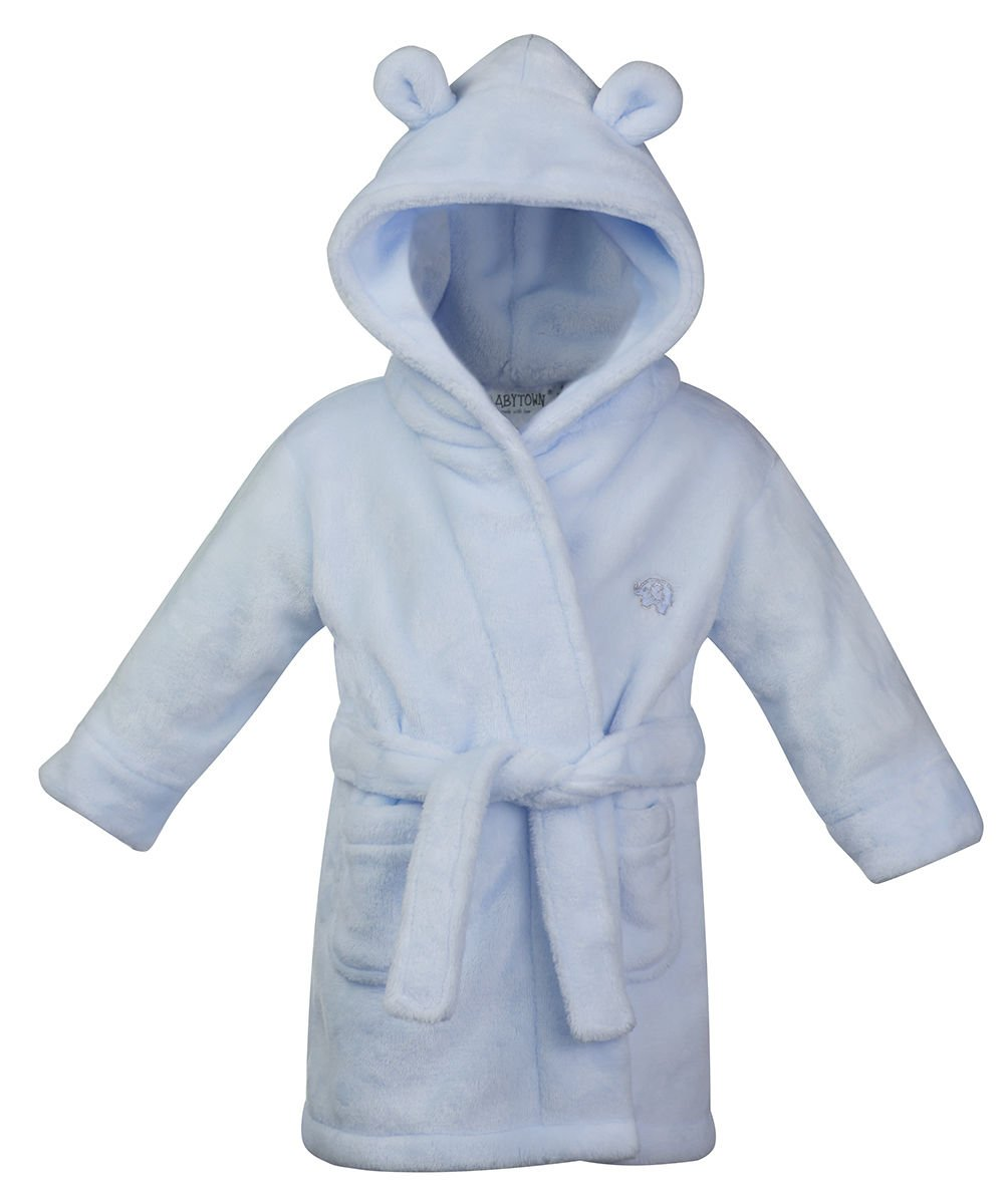 18-24 months BLUE Fluffy Fleece Baby Boy's Dressing Gown Bath Robe with teddy ears Hoolaroo