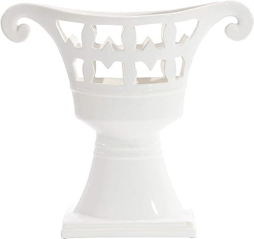 Sagebrook Home 11989 Footed Ceramic Vase, White Ceramic, 17.75 x 5.25 x 16.25 Inches