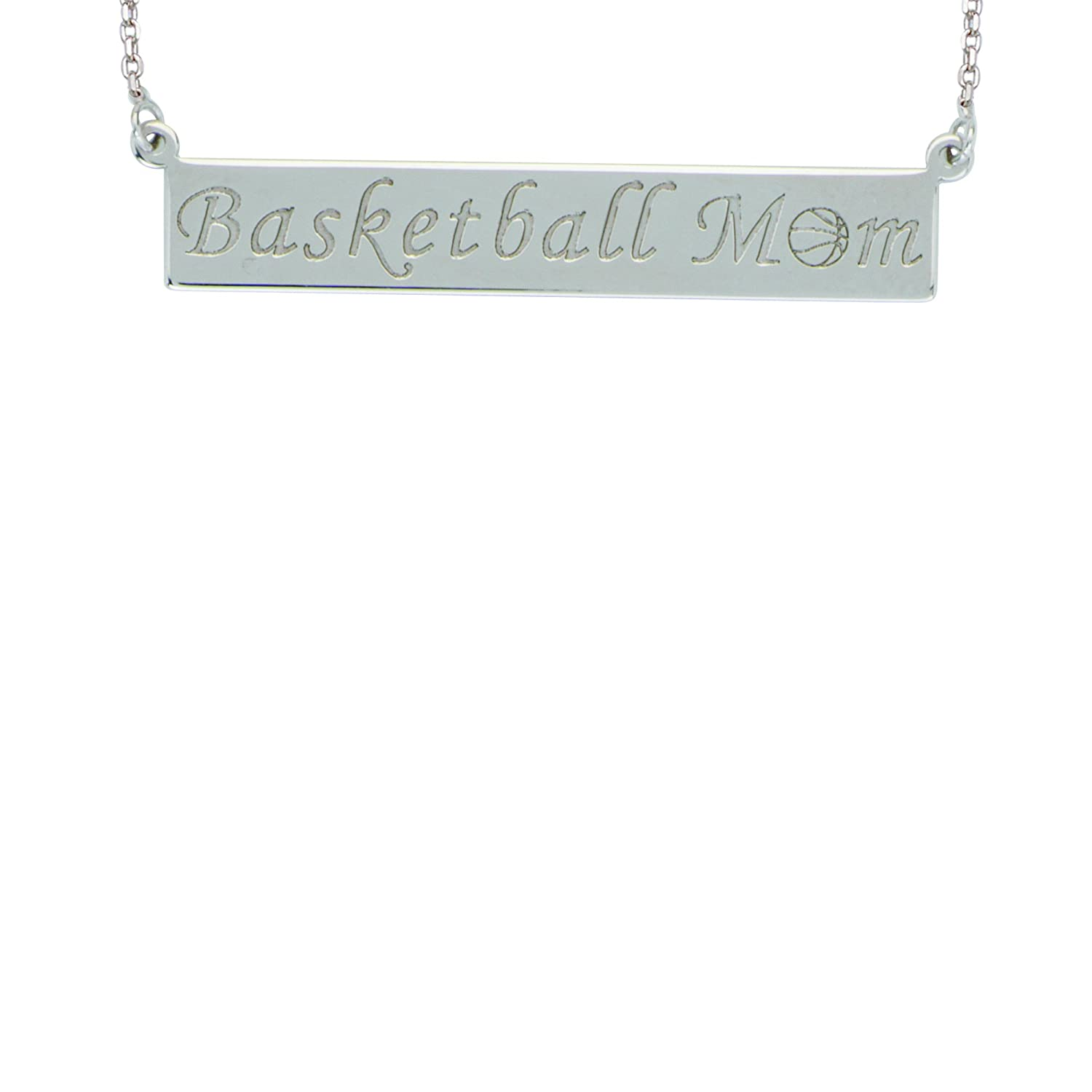 Basketball Mom Bar Necklace DiamondJewelryNY Silver Pendant