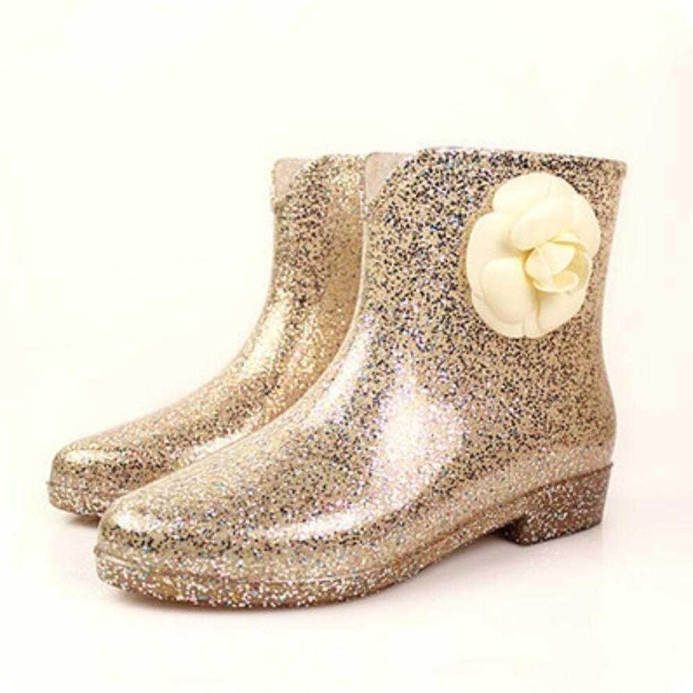 SIHUINIANHUA Damen in den Schlauch Regen Regenstiefel Pailletten Gummistiefel Regen Schlauch Stiefel Rutschfeste Wasser Stiefel Schuhe 4 38 5f0747