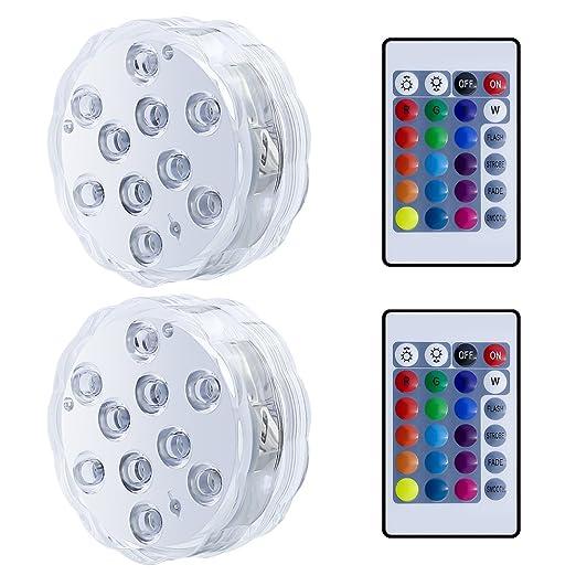 Bajo El Agua Luz, RGB Luces Sumergibles con Control Remoto para Decoración del Hotel, Piscina,Acuario, Estanque, Bodas,Fiesta