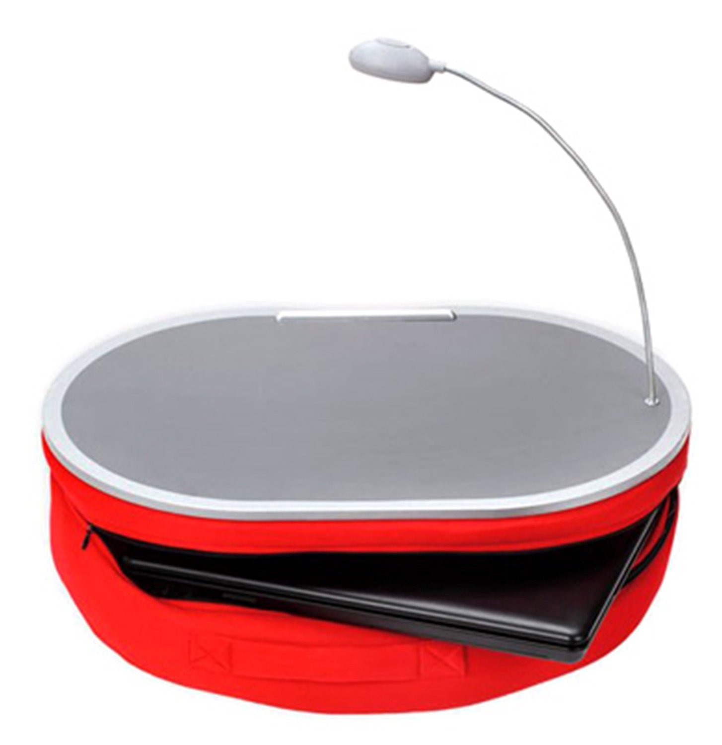 Deluxe Comfort Portable Lap Desk With LED Lamp, 18'' x 15'' - Handy Zippered Storage - Laptop Lapdesk, Red