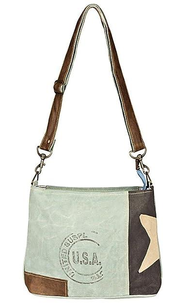 Edle Tasche Shopper in CanvasLeinen und Leder im ShabbyVintage Look mit Stern
