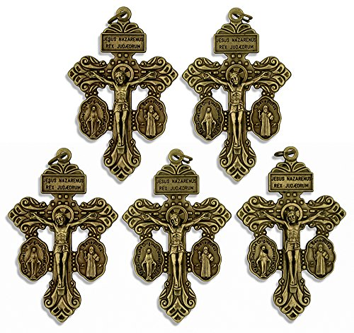 Deluxe Catholic Pardon Cross - Pack of 5 (Brass)