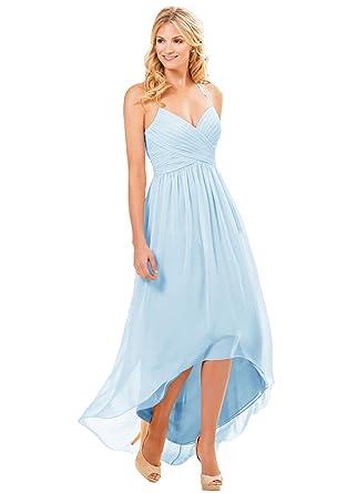 ffeba8c2076 Women s V-Neck Spaghetti Strap Halter Long Party Evening Dress High Low  Formal Gown Bady