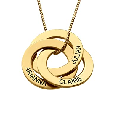 Customized Russian Three Ring Engraved Necklace Gift For Her Engraved Personalised Rings