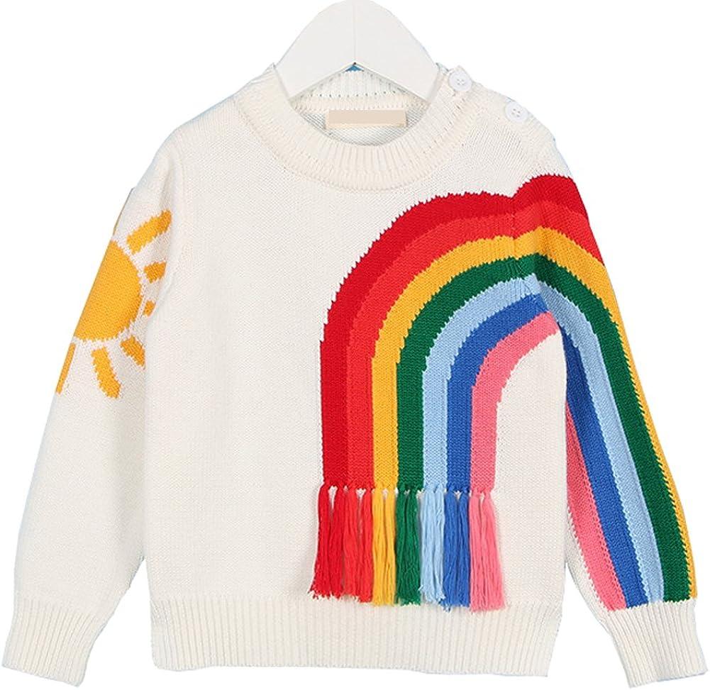 Cystyle Kinder Fr/ühling Herbst und Winter M/ädchen regenbogen farbener Stricken Pullover