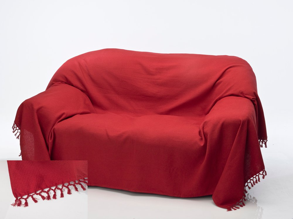 chair throws. cotton honeycomb waffle throw red (double): amazon.co.uk: kitchen \u0026 home chair throws s