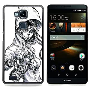 - Graffiti Tattoo Zombie Skull Girl Spray - - Snap-On Rugged Hard Cover Case Funny HouseFOR HUAWEI Ascend Mate 7