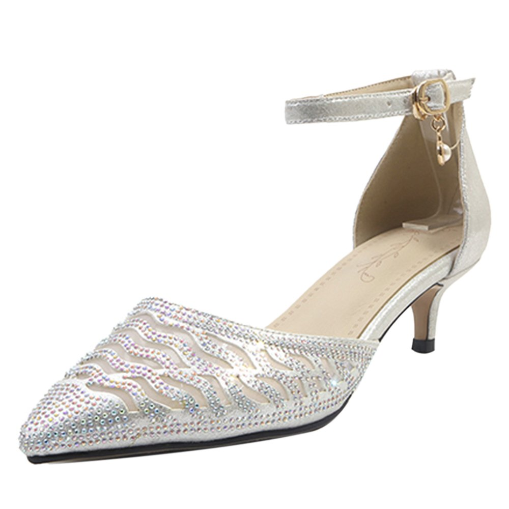AicciAizzi Mujer Mini Tacon Sandalias De Vestir Rhinestone 33 EU|Silver