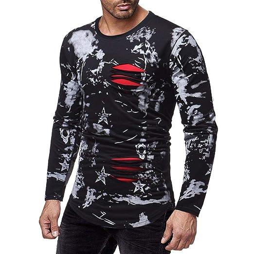 Qiusa Camisetas 3D para Hombre Camiseta de Manga Larga, Casual ...