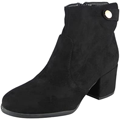 443827a6e6b2 Loud Look Ladies Faux Suede Zip Mid Cuban Heel Work Button Ankle Boots Size  3