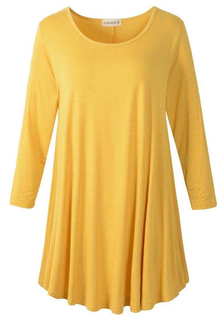 LARACE Women 3/4 Sleeve Tunic Top Loose Fit Flare T-Shirt(2X, Yellow) by LARACE