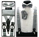 Mens Gray & Black Geometric Convertible Suspenders Pre-tied Bow Tie & Hanky Set