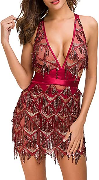 Amazon.com: Womens Sexy Glitter Deep V Neck Sequin Beaded