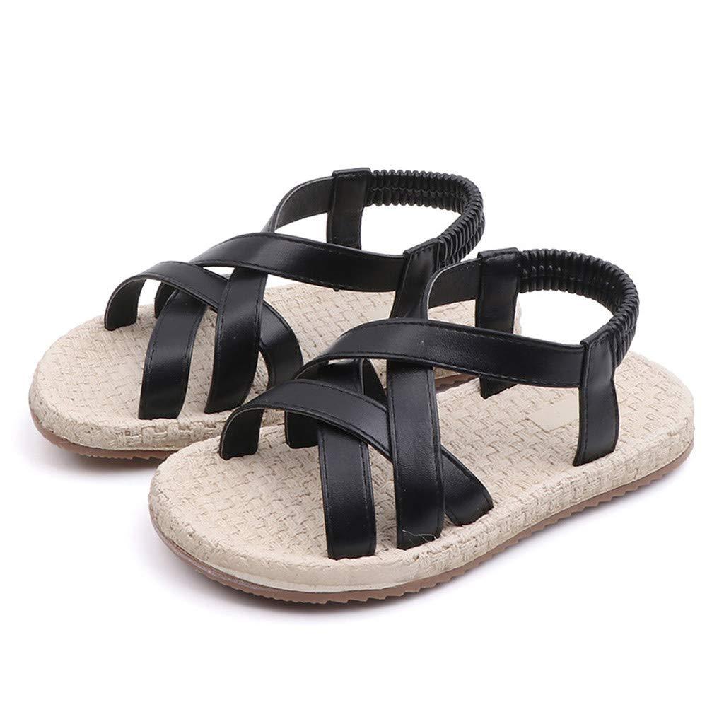 Yikey Girls Sandals Toddler Baby Girls Summer Cross Elastic Band Princess Roman Shoes Sandals