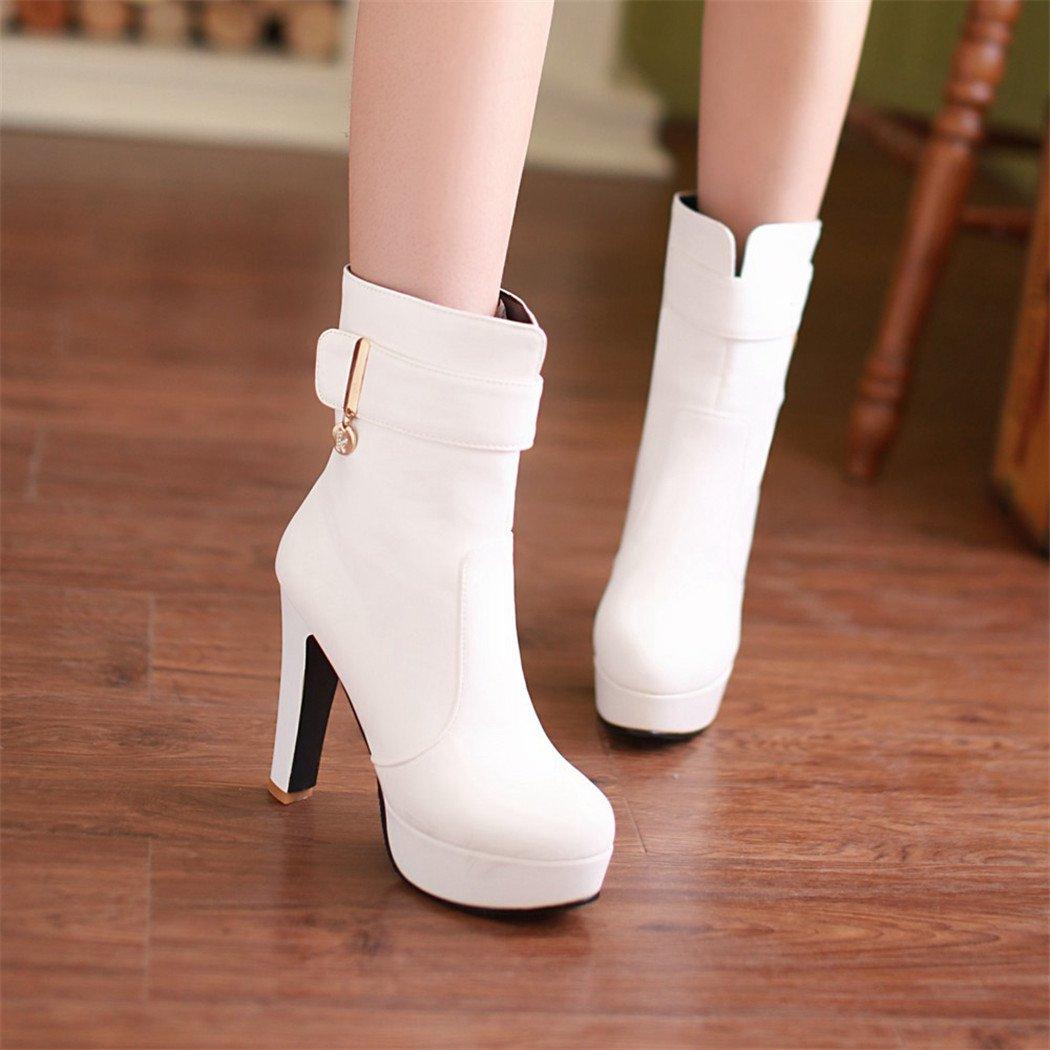 ZQ@QX Herbst und Winter runden Kopf dick mit einem einem einem minimalistischen und stilvolle große Werften, kurze barrel Stiefel weibliche Stiefel  Weiß bf1f1a