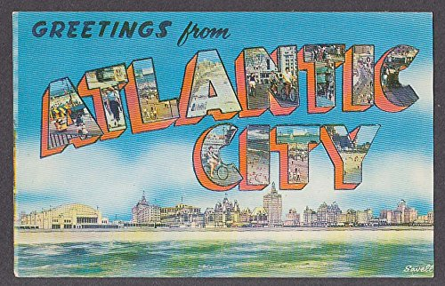 Greetings from ATLANTIC CITY NJ large letter postcard 1950s
