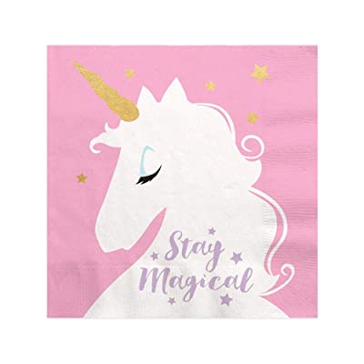 Big Dot of Happiness Unicorn with Gold Foil - Magical Rainbow Unicorn Baby Shower or Birthday Party Cocktail Beverage Napkins (16 Count): Health & Personal Care