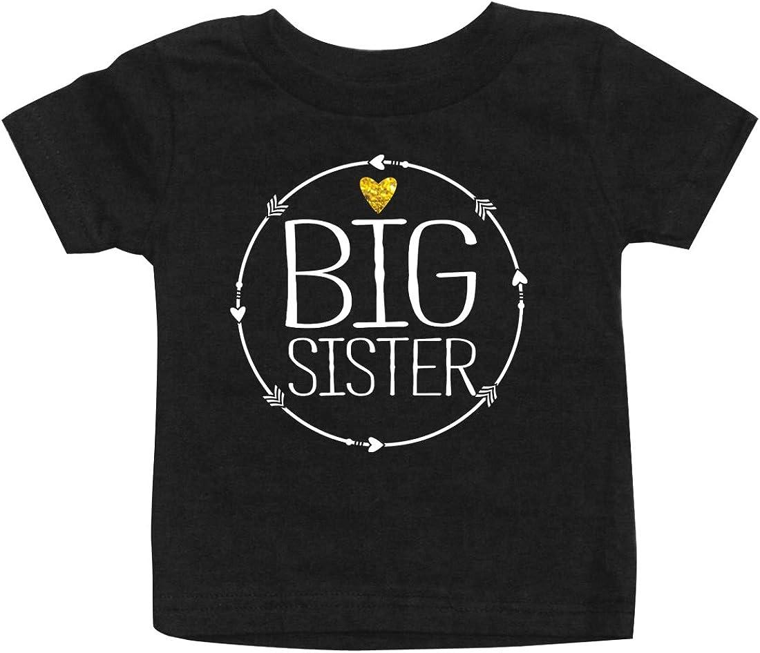 Big Sister Hipster Circle Arrow Gold Sparkle Pregnancy Announcement Infant T-Shirt