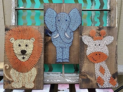 Safari Trio of String Art Animals by Nailed It Design