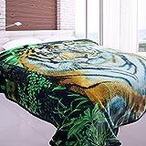 Jml Heavy Duty Korean Mink Blanket - 4.9 lb Soft Warm Plush Fleece Bed Blanket for Winter, 85x93 inch(King, Green&Tiger)