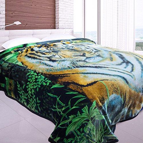 Jml Heavy Duty Korean Mink Blanket - 4.9 lb Soft Warm Plush Fleece Bed Blanket for Winter, 85x93 inch(King, Green&Tiger) by Jml