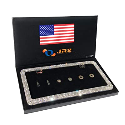 JR2 Luxury Handmade Premium Rhinestone Metal License Plate Frame with Gift Box+Free Premium Diamond Anti-Theft Screw Cap (White): Automotive