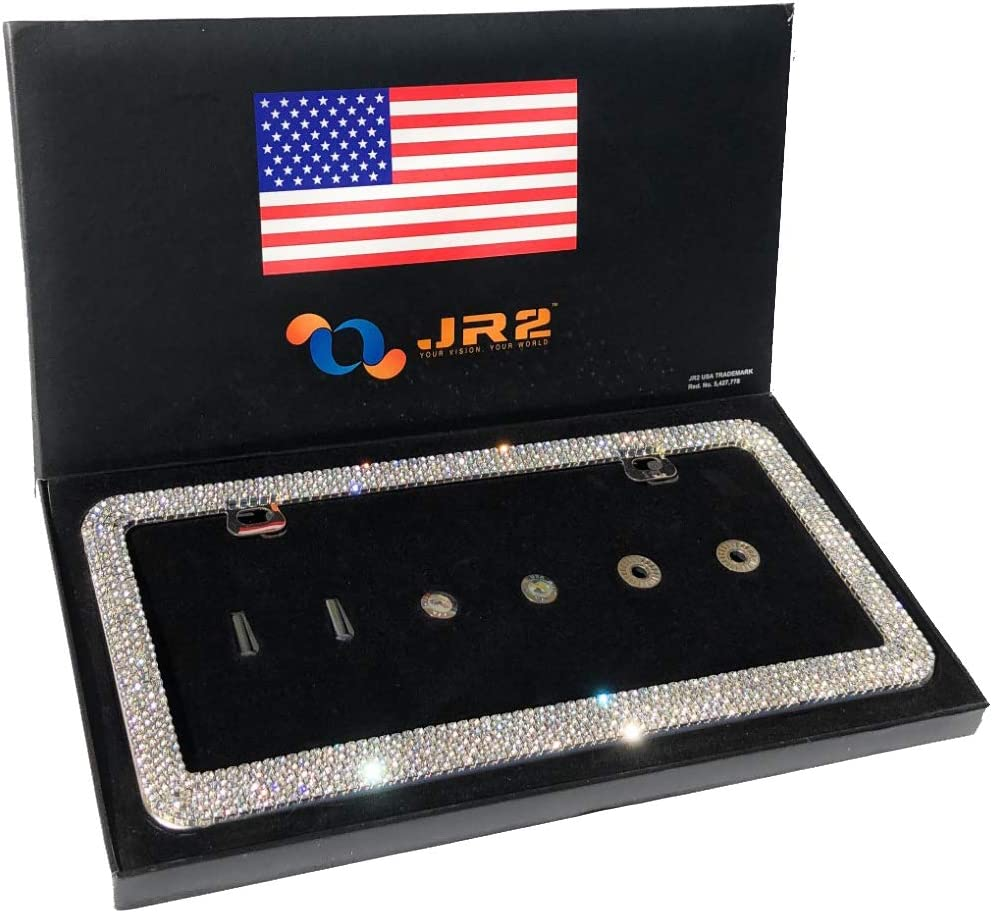 JR2 Luxury Handmade Premium Rhinestone Metal License Plate Frame with Gift Box+Free Premium Diamond Anti-Theft Screw Cap (White)