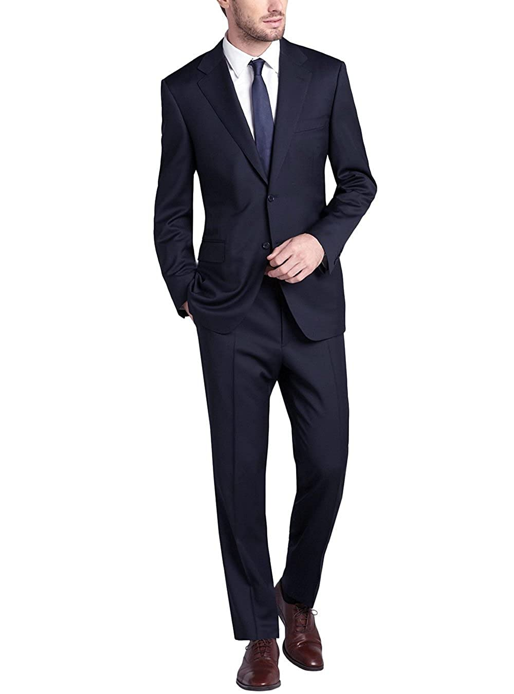 Gino Valentino Men's Two Button Side vents Jacket 2 Piece Modern Suit