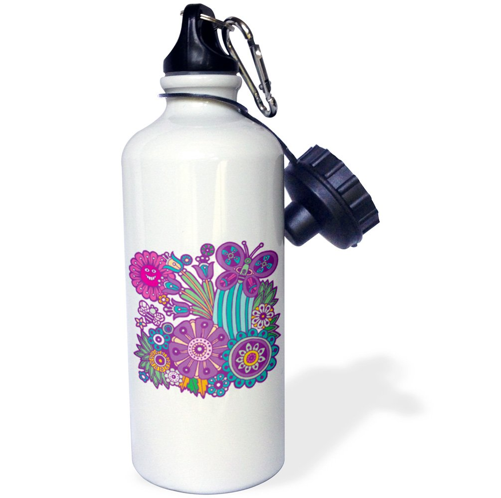 3dRose wb/_116359/_1 Cute Summer Flowers Bee and Butterfly Cartoon Artsy Nature Design-Sports Water Bottle White 21 oz