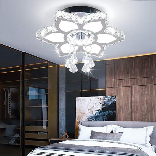 Qihang Modern Crystal LED Chandelier Flower Shaped Pendant Light Flush Mount Ceiling Lamp Fixture