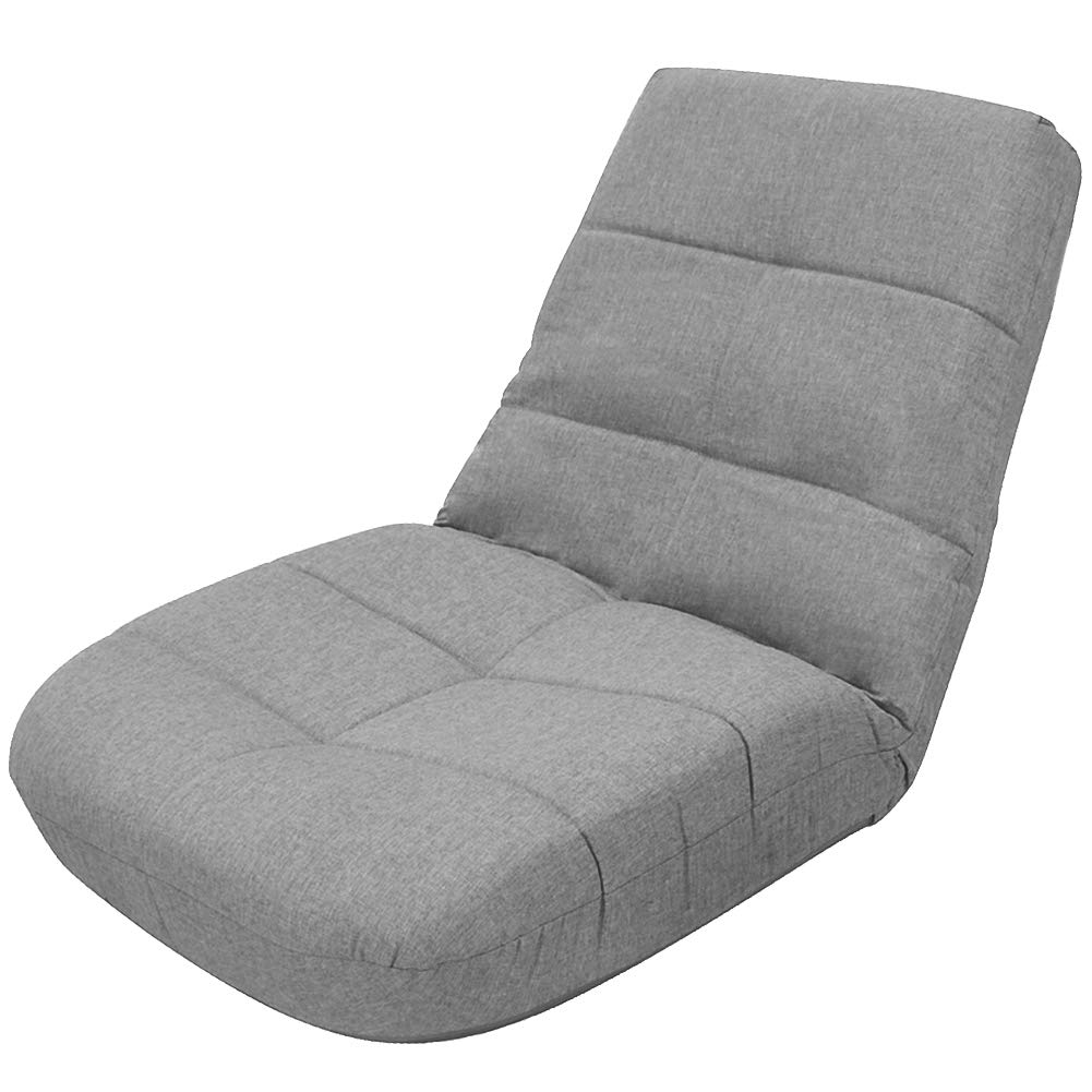 Crestlive Products Easy Lounge, Adjustable Padded Floor Chair with Back Support, Comfortable Folding Chair with Backrest for Home and Office, Floor Pillow for Meditation or as Gaming Chair (Gray) by Crestlive Products
