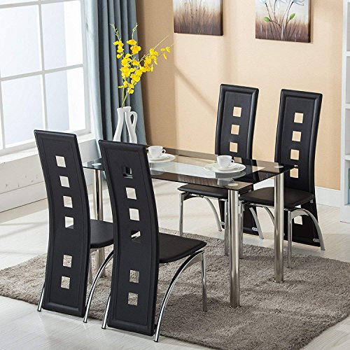 mecor dining room table set, 5 piece glass kitchen table and leather chairs kitchen furniture black