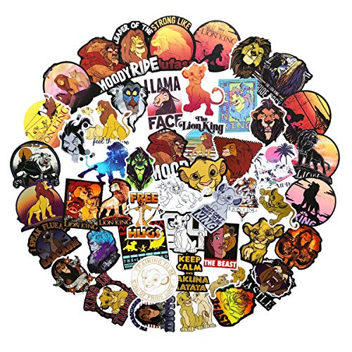50pcs The Lion King Cartoon Anime Stickers Laptop Computer Bedroom Wardrobe Car Skateboard Motorcycle Bicycle Mobile Phone Luggage Guitar DIY Decal (Lion King)