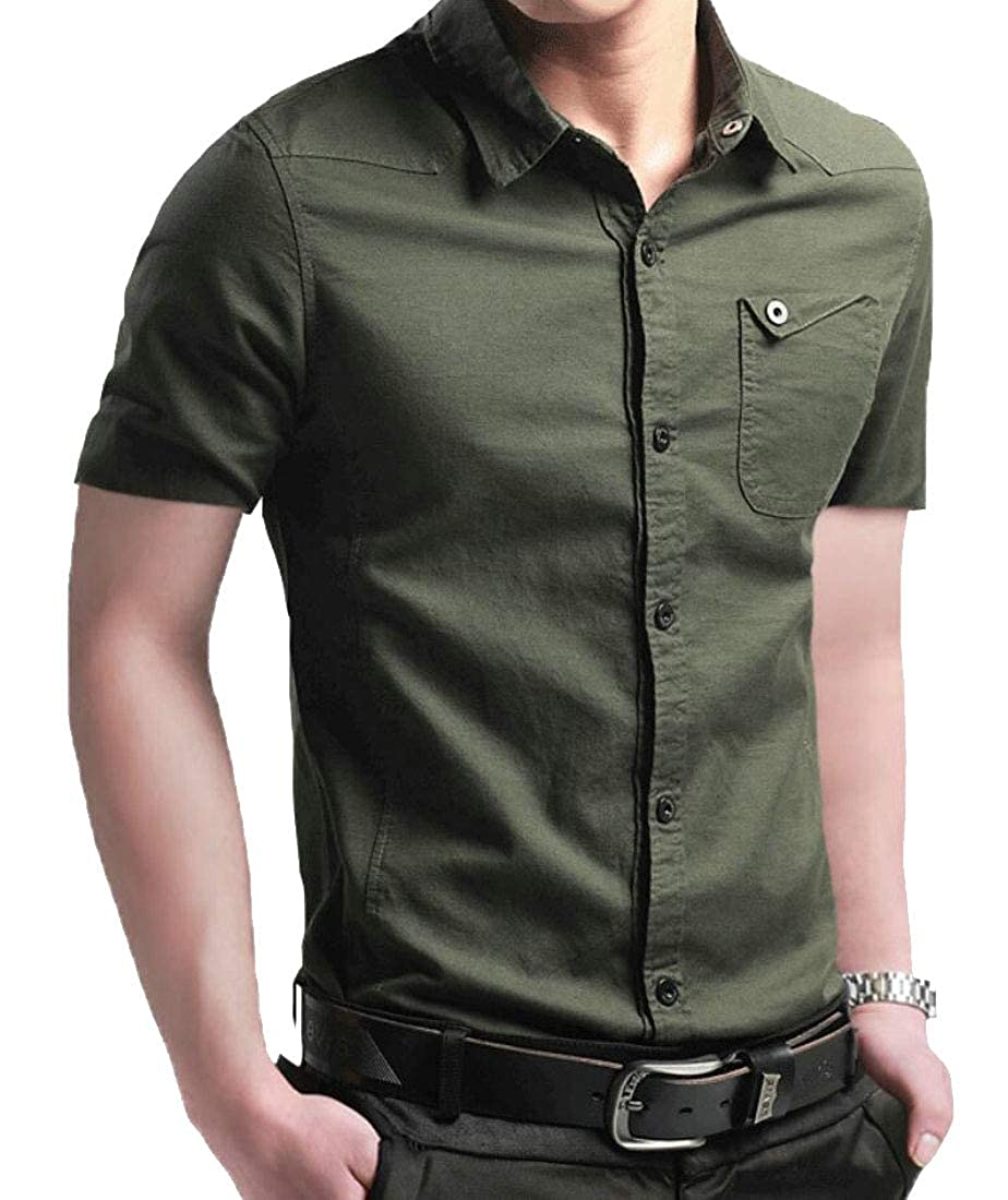 M/&S/&W Mens Short Sleeve Casual Cotton Rugged Solid Button Front Shirts