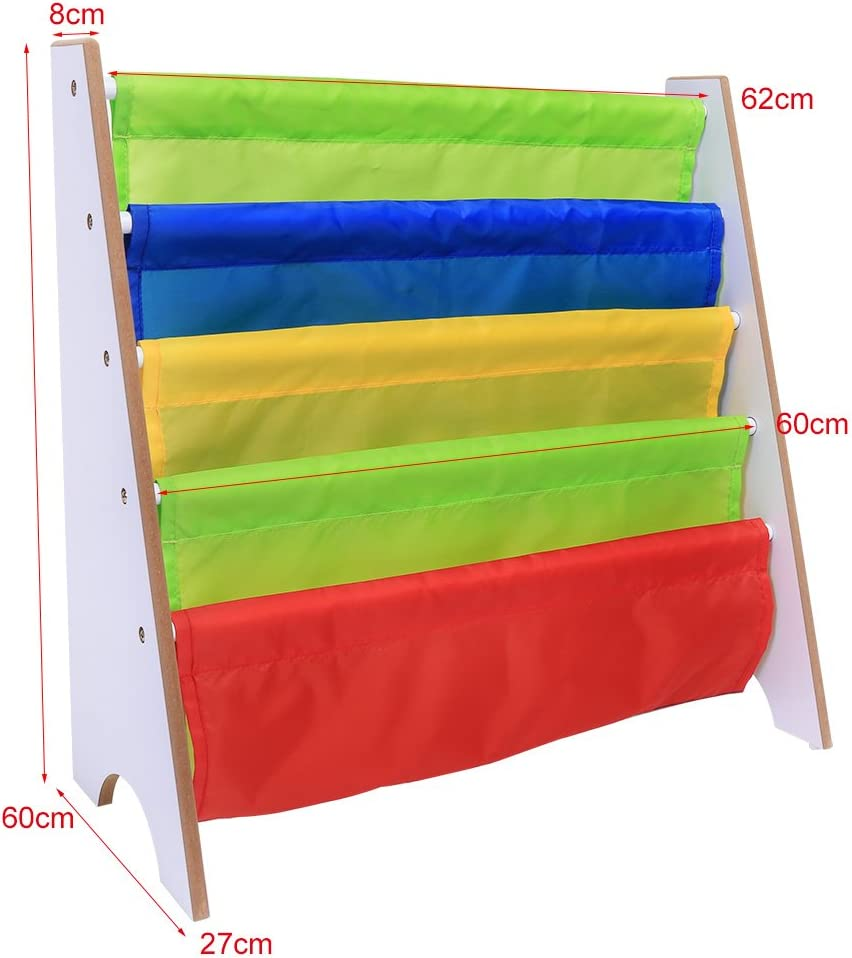 White Shelf Wooden Book Storage Rack For Age 3 and Above Multi-color Children Kids Bookcase Free Standing Sling Storage Bookshelf with 5 Strong Polyester Fabric Pockets 26/×11/×23