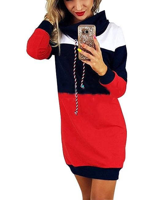 53b365fd3bf1 Minetom Donna Eleganti Manica Lunga Felpe Abito Corti Autunno Inverno  Sciolto Pullover Camicia Tops Oversize Sweatshirt Mini Vestito  Amazon.it   ...