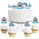 Shark Zone - Dessert Cupcake Toppers - Jawsome Shark Party or Birthday Party Clear Treat Picks - Set of 24