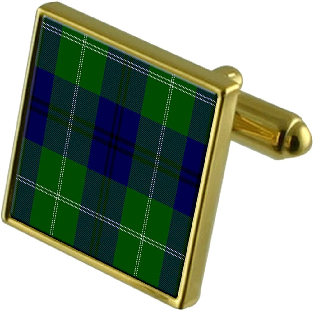 Select Gifts Tartan Clan Oliphant Gold Cufflinks in Engraved Personalised Case
